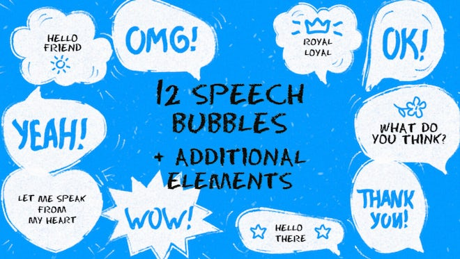 12 Funny Speech Bubbles: Motion Graphics Templates