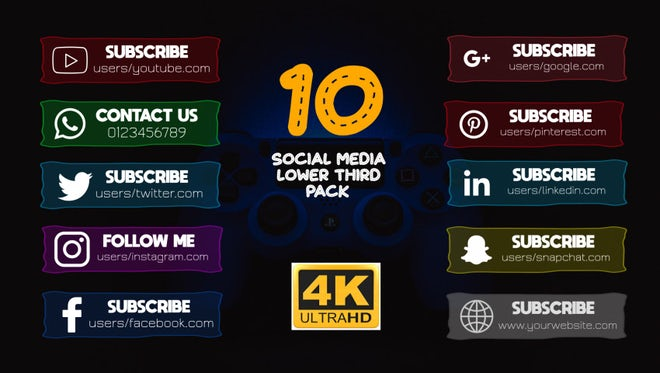 Social Media Lower Thirds Pack 4k: Motion Graphics Templates