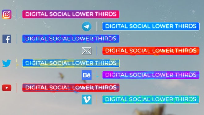 Digital Social Lower Thirds: Motion Graphics Templates
