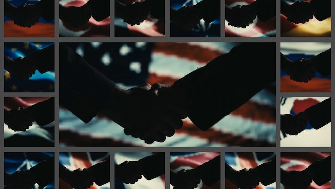 Handshakes on flag backgrounds.: Stock Video