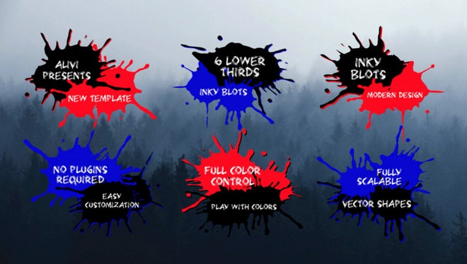 Inky Blots Lower Thirds: After Effects Templates