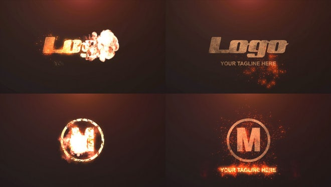 Grunge Metal Fire Logo: After Effects Templates