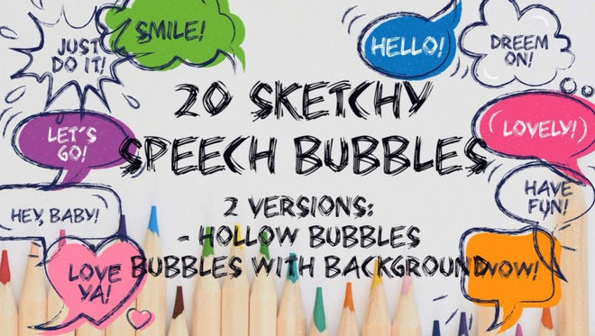 20 Cheerful Speech Bubbles: Motion Graphics Templates