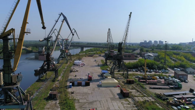 Cranes On Cargo Port: Stock Video