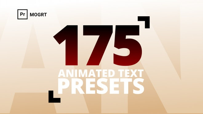 175 Text Preset For Premiere: Motion Graphics Templates