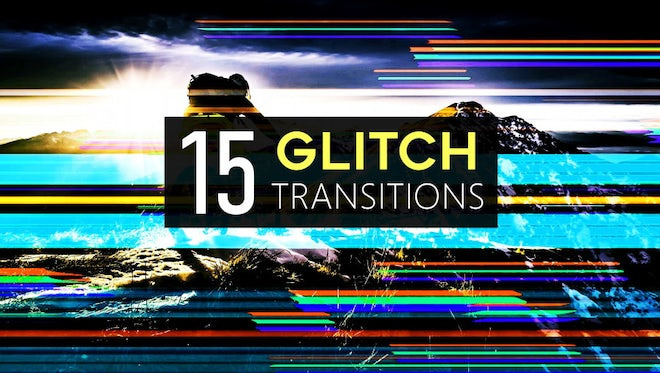 15 Glitch Transitions Pack: Stock Motion Graphics