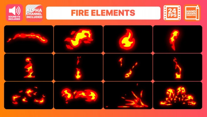 Fire Elements Pack + Titles: Motion Graphics Templates