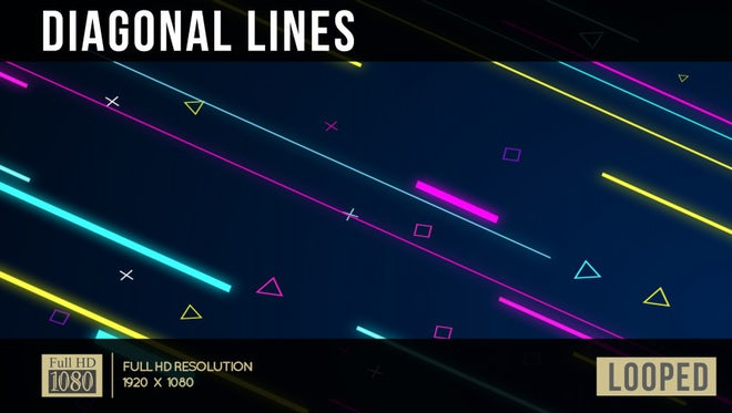 80's Pop Diagonal Lines: Stock Motion Graphics
