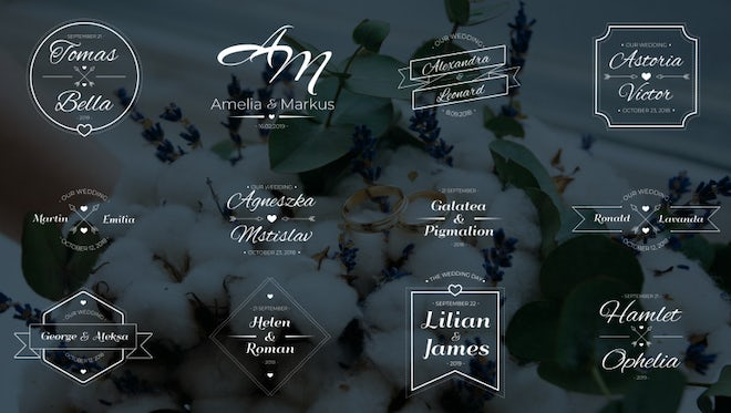 12 Animated Wedding Labels: Motion Graphics Templates