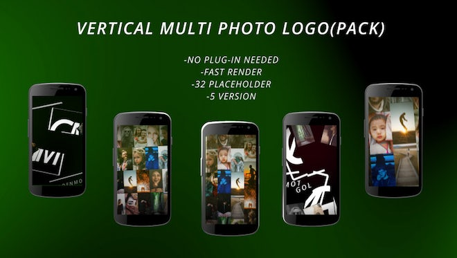 Vertical Multi Photo Logo (Pack): After Effects Templates