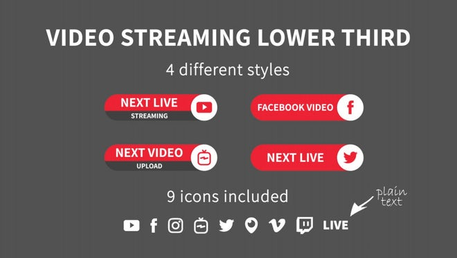 Video Streaming Lower Third: Motion Graphics Templates