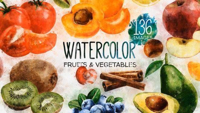 Watercolor Fruits: After Effects Templates