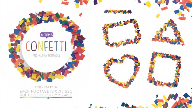Confetti Frames Pack: Stock Motion Graphics