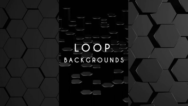 Black Hexagons Top-Side Views: Stock Motion Graphics