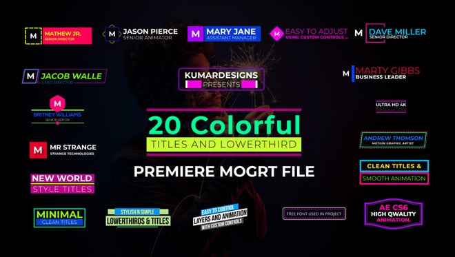 20 Colorful Lowerthird And Titles: Motion Graphics Templates