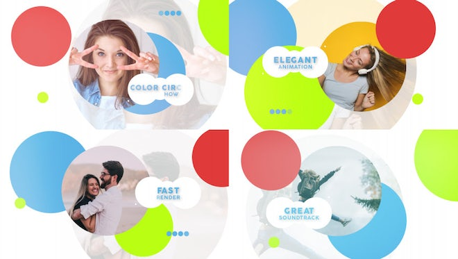 Color Circle Slideshow: After Effects Templates