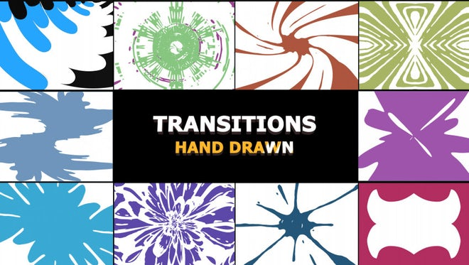Hand Drawn Splatters Transitions Pack: Stock Motion Graphics