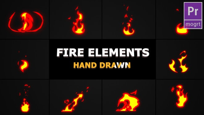 Cartoon Fire Elements: Motion Graphics Templates