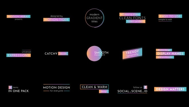 Modern Gradient Titles: After Effects Templates