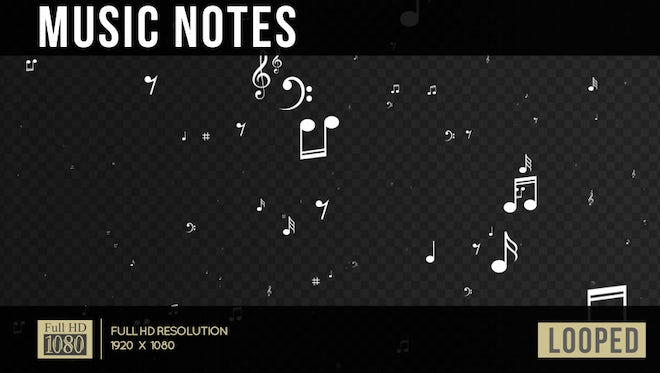 Musical Notes Stream: Stock Motion Graphics
