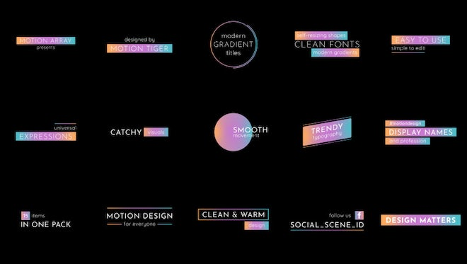 Modern Gradient Titles - Essential Graphics: Motion Graphics Templates