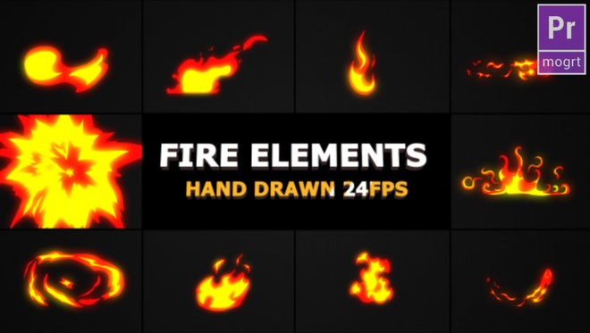 Hand Drawn Fire Elements: Motion Graphics Templates