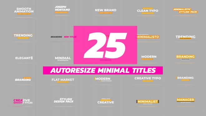 Minimal Auto Resize Titles Pack: After Effects Templates