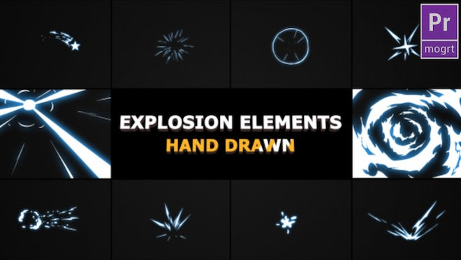 Hand Drawn Explosion Elements: Motion Graphics Templates