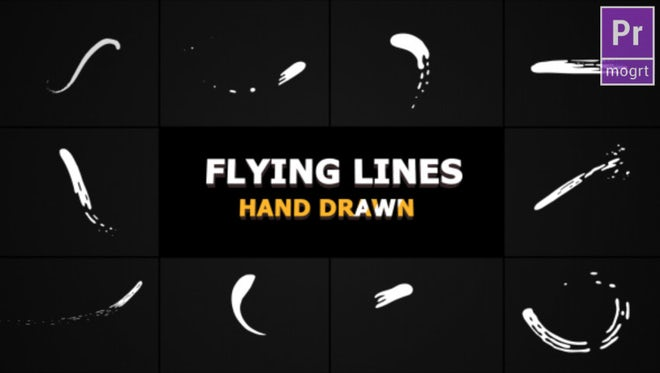 Hand Drawn Flying Lines: Motion Graphics Templates