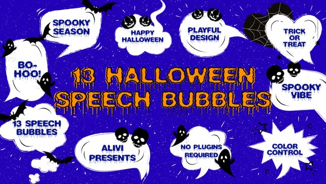 Spooky Halloween Speech Bubbles: Motion Graphics Templates