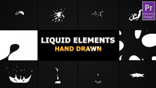 Hand Drawn Liquid Elements And Transitions: Motion Graphics Templates