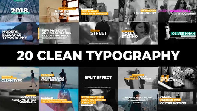 20 Clean Typography Pack: Premiere Pro Templates