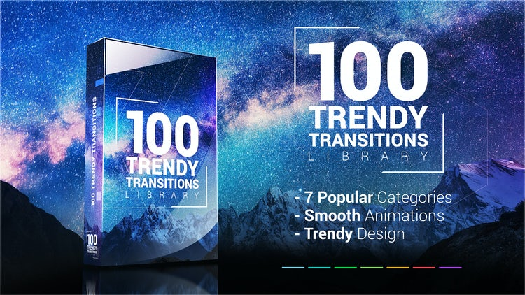 100 Trendy Transitions Library: Premiere Pro Templates