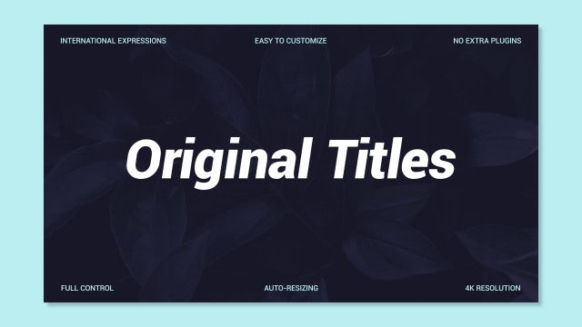 Original Titles: Motion Graphics Templates