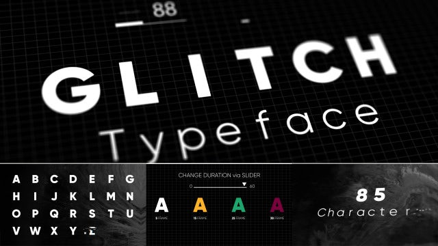 Glitch - Animated Typeface: Motion Graphics Templates