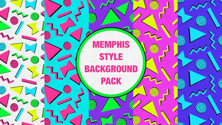 Memphis Style Background Pack: Stock Motion Graphics