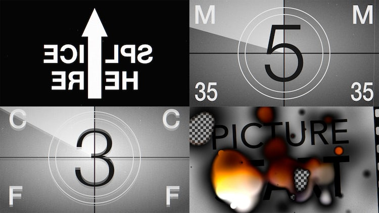 Film Leader Countdown Burned: Stock Motion Graphics