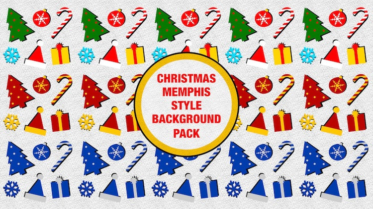 Christmas Memphis Style Background Pack: Stock Motion Graphics