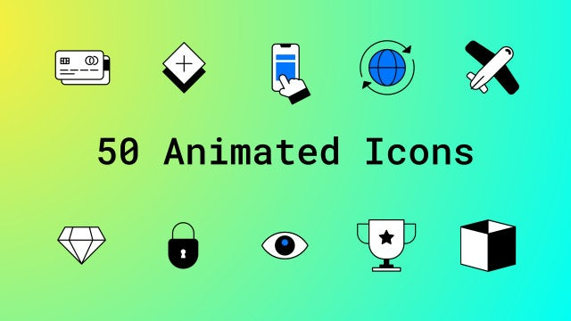 50 Animated Icons: After Effects Templates