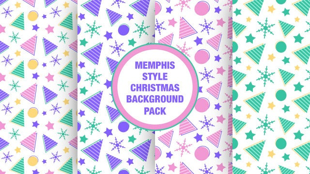 Memphis Style Christmas Background Pack: Stock Motion Graphics