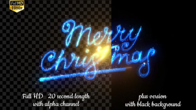 Magical Blue Merry Christmas Text: Stock Motion Graphics