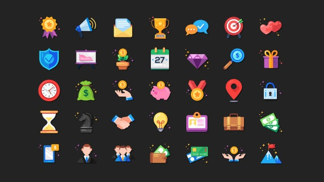 35 Business Icons Collection: Stock Motion Graphics