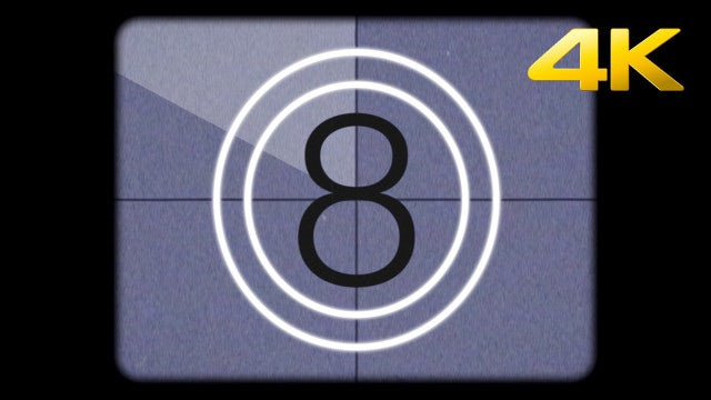 Super 8mm Film Leader Countdown: Stock Motion Graphics