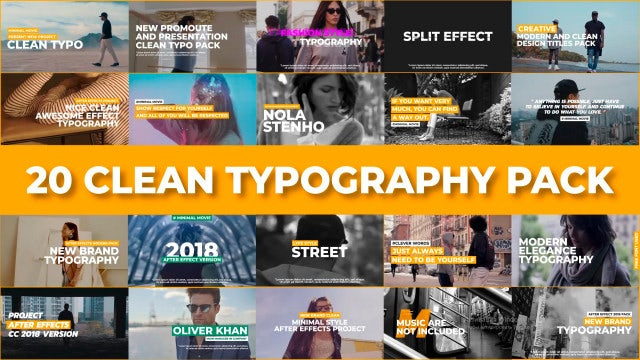 20 Clean Typography Pack: Motion Graphics Templates