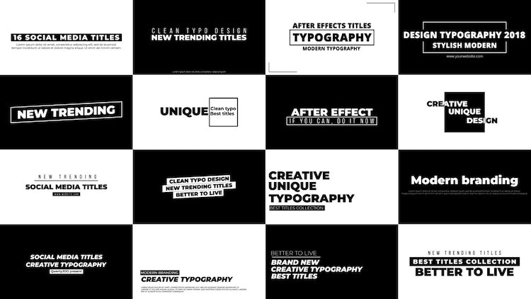 16 New Style Titles: After Effects Templates