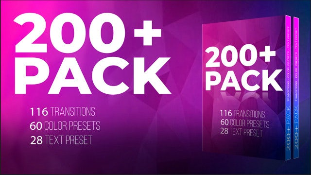 200+ Pack: Transitions, Color, Text: Premiere Pro Presets