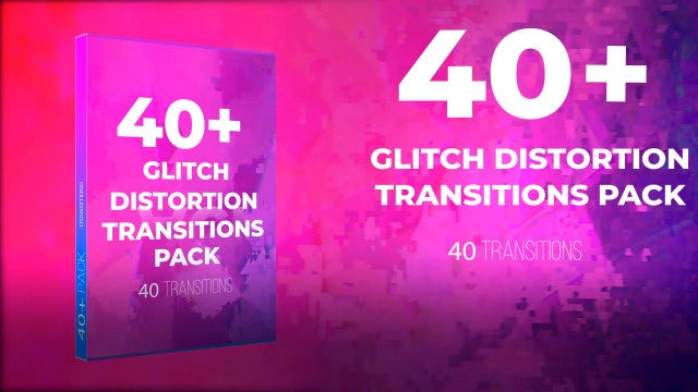 40 + Glitch Distortion Transition Pack: Premiere Pro Presets