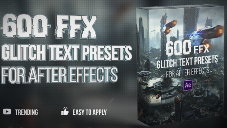 600 Glitch Text Presets: After Effects Presets