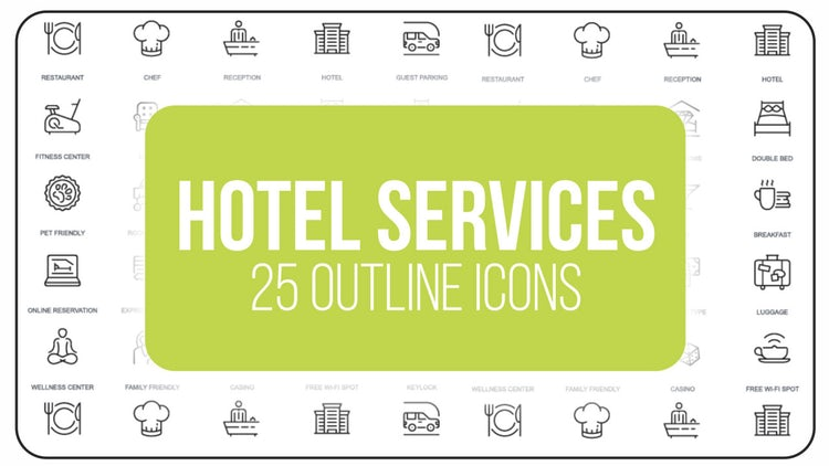 Hotel Service - 25 Outline Icons: After Effects Templates