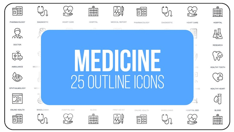 Medicine - 25 Outline Icons: After Effects Templates